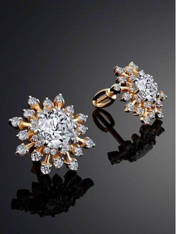 Snowflake Design Golden Earrings With Crystals, image , picture 2