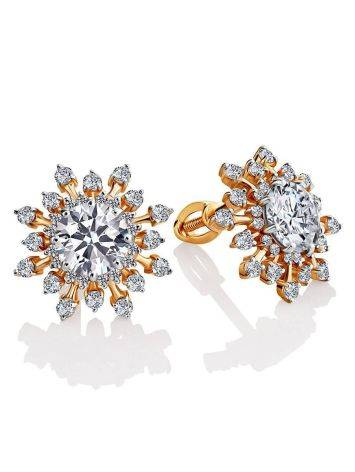 Snowflake Design Golden Earrings With Crystals, image