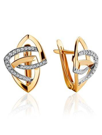Statement Golden Earrings With Crystals, image