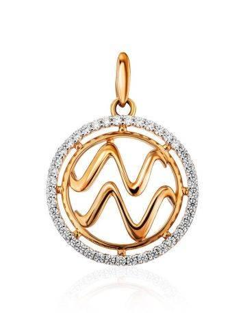 Round Golden Aquarius Sign Pendant, image