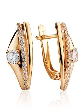 Ultra Chic Gold Crystal Earrings, image