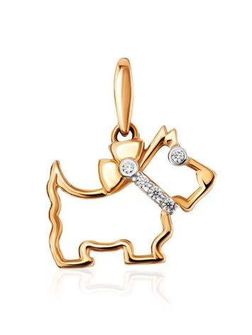 Golden Scottie Dog Pendant With Crystals, image