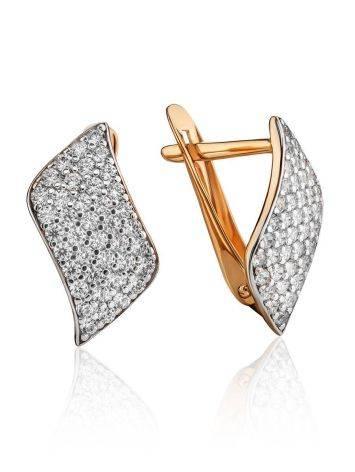Elegant Gold Crystal Earrings, image