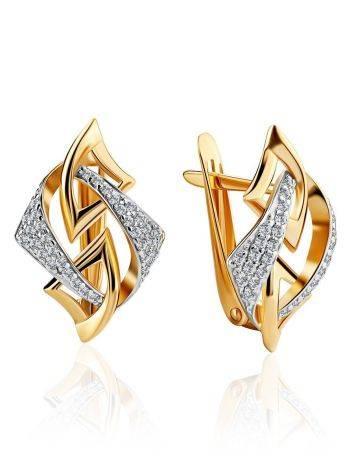 Amazing Crystal Encrusted Golden Earrings, image