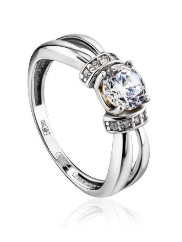 Chic White Gold Crystal Ring, Ring Size: 5.5 / 16, image