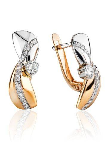 Two Tone Gold Crystal Earrings, image