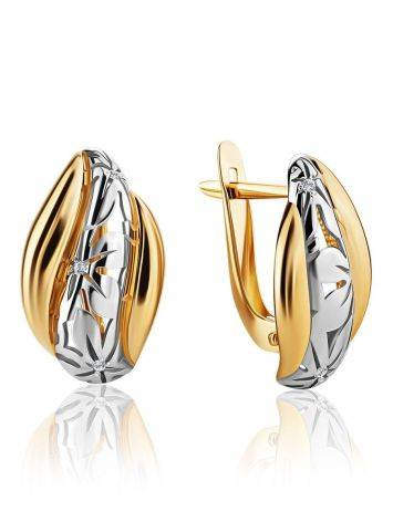 Glamorous Two Toned Golden Earrings With Crystals, image