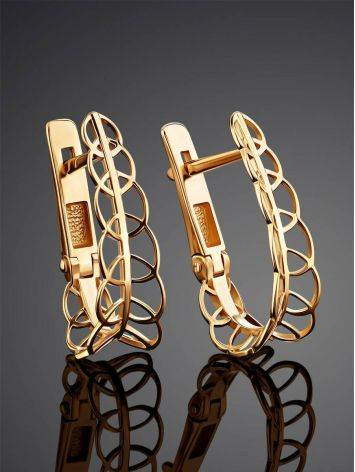 Filigree Loop Golden Earrings, image , picture 2