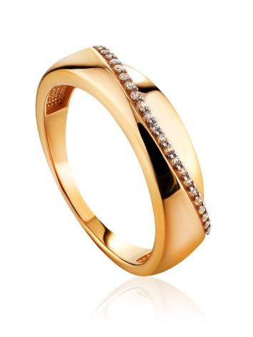 Chic Golden Band Ring With Crystal Row, Ring Size: 7 / 17.5, image