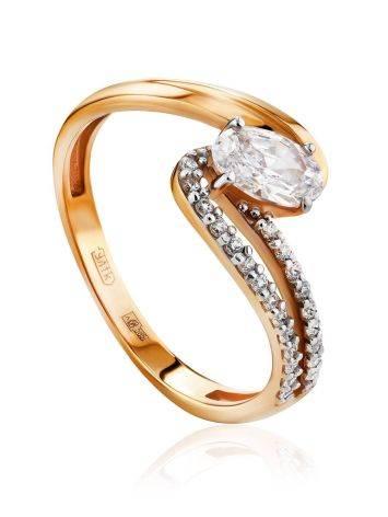 Ultra Feminine Gold Crystal Ring, Ring Size: 6.5 / 17, image