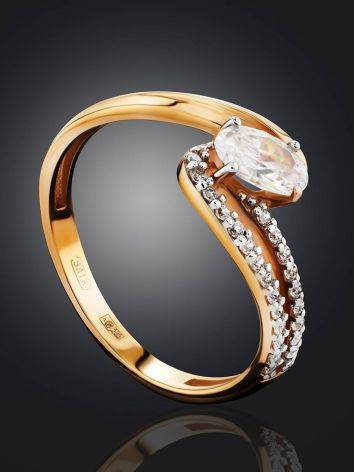 Ultra Feminine Gold Crystal Ring, Ring Size: 6.5 / 17, image , picture 2