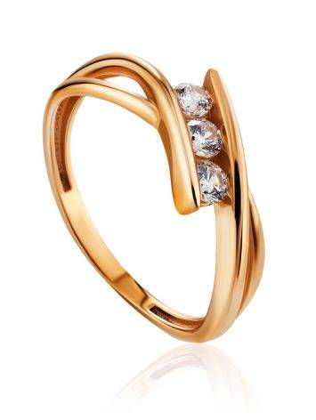 Twisted Golden Ring With Three Crystals, Ring Size: 6 / 16.5, image