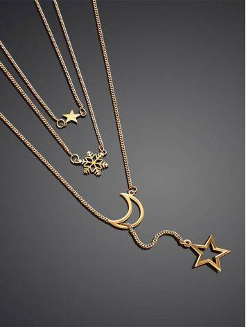 Multi Layer Golden Necklace With Crescent And Stars, image , picture 2