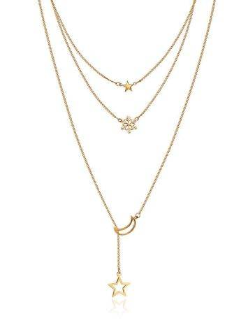 Multi Layer Golden Necklace With Crescent And Stars, image