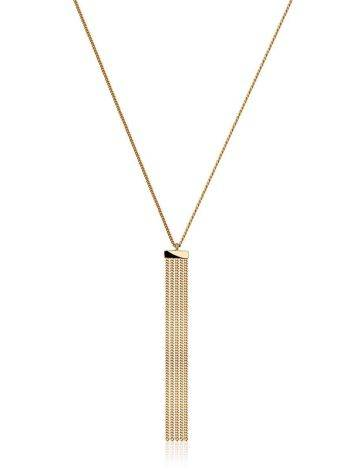 Chic Golden Necklace With Waterfall Chain Pendant, image