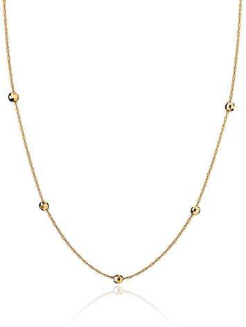 Refined Golden Chain Necklace With Tiny Faceted Beads, image