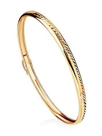 Ribbed Golden Bangle Bracelet, image