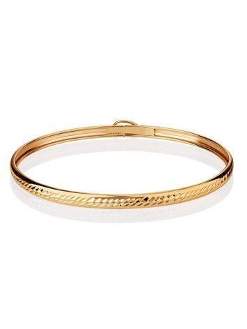 Ribbed Golden Bangle Bracelet, image , picture 3