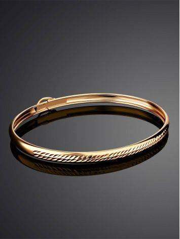 Ribbed Golden Bangle Bracelet, image , picture 2