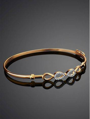 Golden Bangle Bracelet With Infinity Symbol Element, image , picture 2