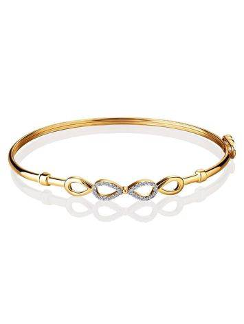 Golden Bangle Bracelet With Infinity Symbol Element, image , picture 3