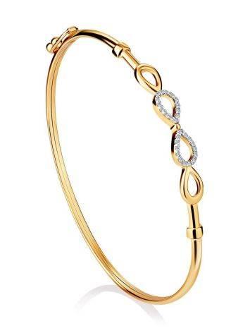 Golden Bangle Bracelet With Infinity Symbol Element, image