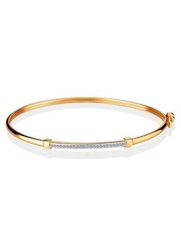 Crystal Encrusted Golden Bangle Bracelet, image , picture 3