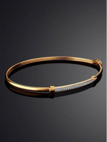 Crystal Encrusted Golden Bangle Bracelet, image , picture 2