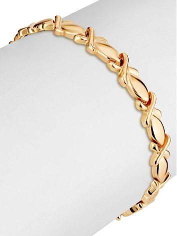 Ultra Feminine Design Golden Link Bracelet, image , picture 3
