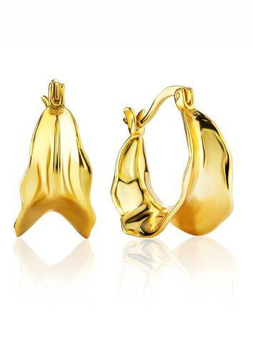 Chunky Gold Plated Silver Loop Earrings The Liquid, image