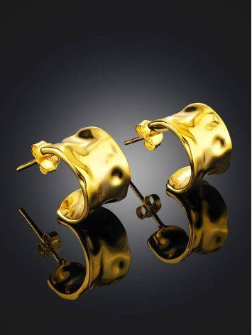 Chunky Gold Plated Silver Hoop Earrings The Liquid, image , picture 2