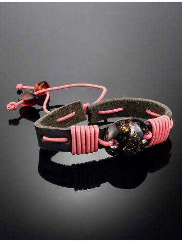 Dark Leather Tie Bracelet With Black Amber The Copacabana, image , picture 2