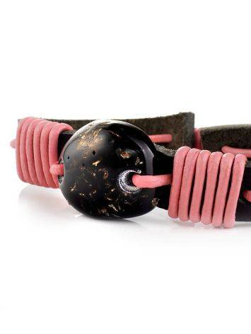 Dark Leather Tie Bracelet With Black Amber The Copacabana, image , picture 4