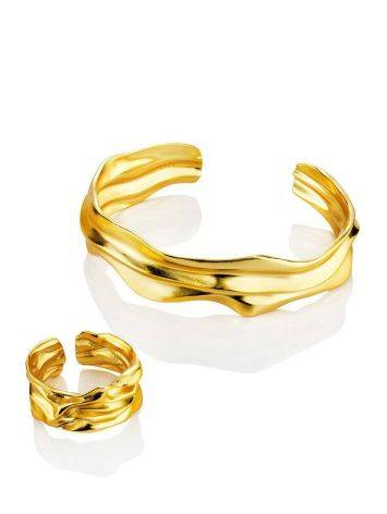 Chic Gold Plated Silver Cuff Bracelet The Liquid, image , picture 4