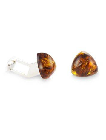 Silver Cufflinks With Cognac Amber The Acapulco, image , picture 3