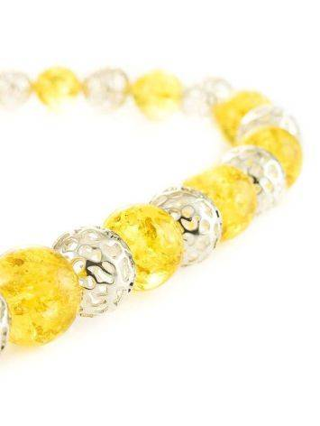 Stunning Amber And Silver Ball Beaded Necklace The Goddes, image , picture 2