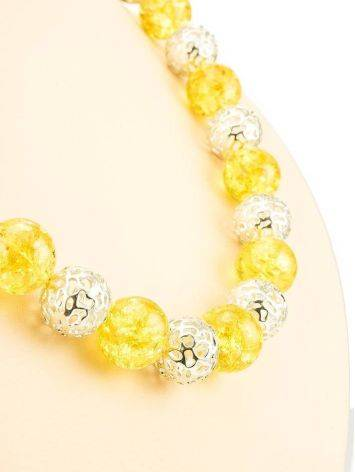 Stunning Amber And Silver Ball Beaded Necklace The Goddes, image , picture 6