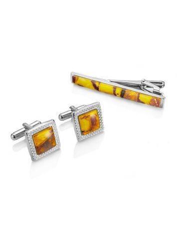 Amber Cufflinks And Tie Bar Set, image