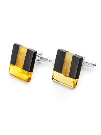 Wooden Cufflinks With Amber The Indonesia, image