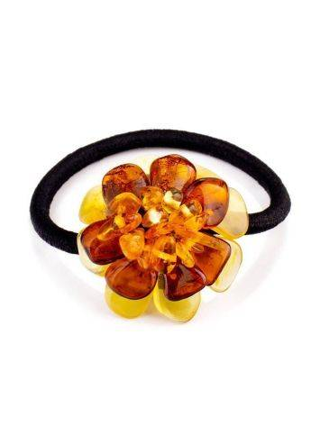 Hair Tie With Natural Amber Flower, image