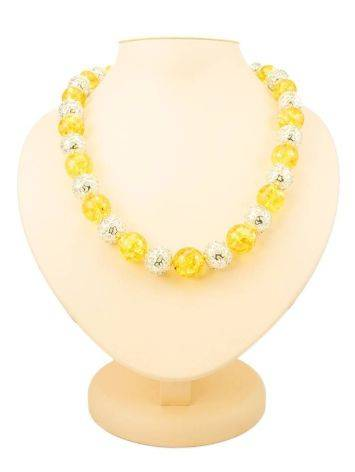 Stunning Amber And Silver Ball Beaded Necklace The Goddes, image