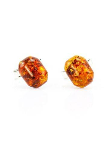 Geometric Silver Cufflinks With Natural Amber, image
