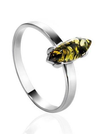 Minimalist Design Silver Amber Ring, Ring Size: 5 / 15.5, image