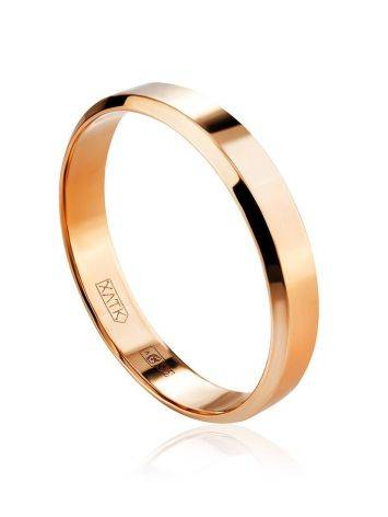 High Polished Stone Less Golden Ring, Ring Size: 6 / 16.5, image