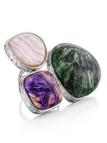 Voluptuous Silver Ring With Natural Stones Bella Terra, Ring Size: 9 / 19, image
