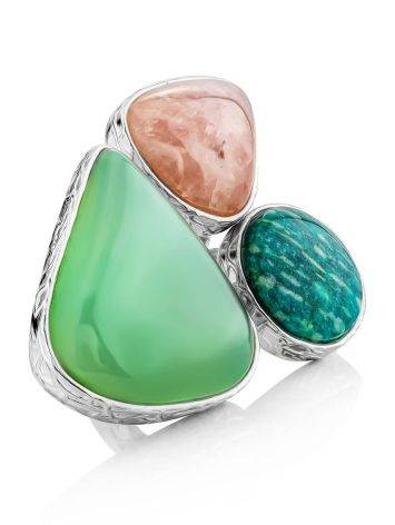 Boho Chic Silver Ring With Multicolor Stones Bella Terra, Ring Size: 9 / 19, image