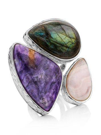 Amazing Silver Cocktail Ring With Multicolor Stones Bella Terra, Ring Size: 9 / 19, image
