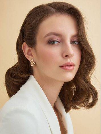 Stylish Modern Rose Gold Plated Silver Earrings The Liquid, image , picture 3