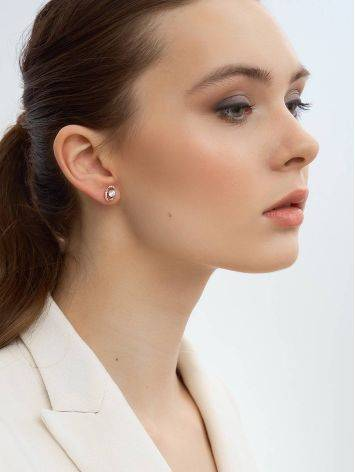 Bright Gold Crystal Stud Earrings, image , picture 3