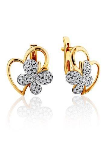 Cute Heart Shaped Golden Earrings With Crystal Butterflies, image